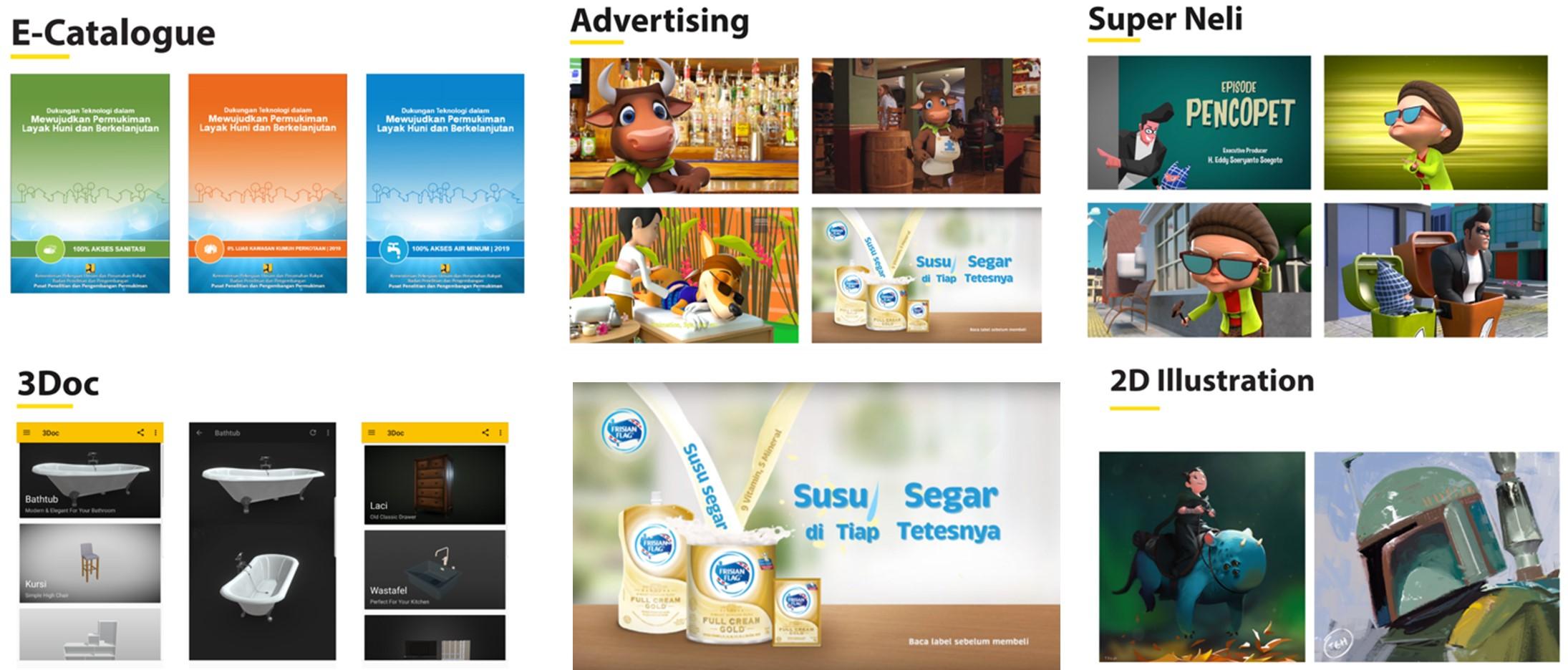 E-Catalogue, Advertising, 3Doc, 2D Illustration